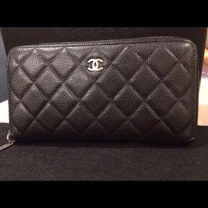 Brand New Chanel Caviar Quilted Zip Around Wallet
